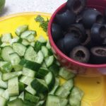 cucumbers and black olives chopped